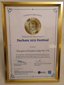 Plaque marking the Marquis of Granby Lodge No.124 reaching Gold level for the 2021 RMTGB Festival