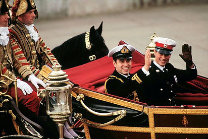 Prince Andrew and best man Prince Edward en route to Westminster Abbey