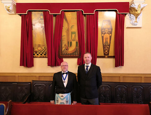 Marquis of Granby Lodge 124 tracing boards and Brothers Wayne Rumley and Brian Radcliffe