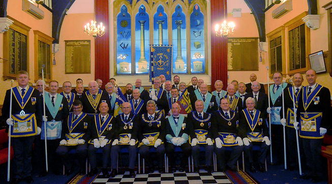 Provincial Grand Master RWBro John Arthur & his Officers, along with WBro John Butterfield, his officers & brethren of Marquis of Granby Lodge No.124