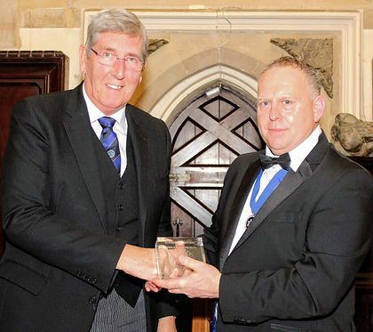 John Arthur, PGM, presenting WBro Jason Heels of Marquis of Granby Lodge No.124 with Charity Fundraising Platinum Award