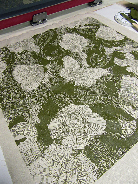 screen-printing fabric in a print room