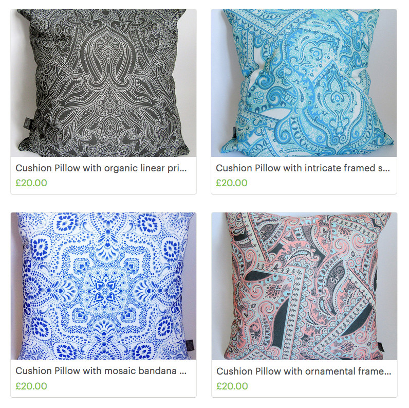 abstract print designs on fabric made into cushions