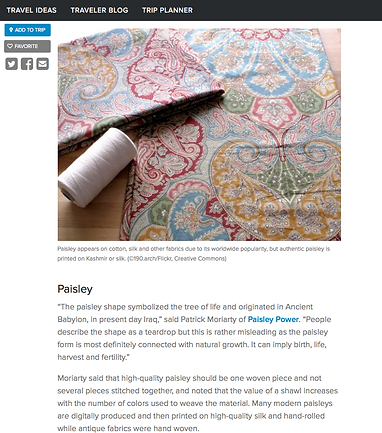 silk fabric with paisley pattern and interview with Paisley Power