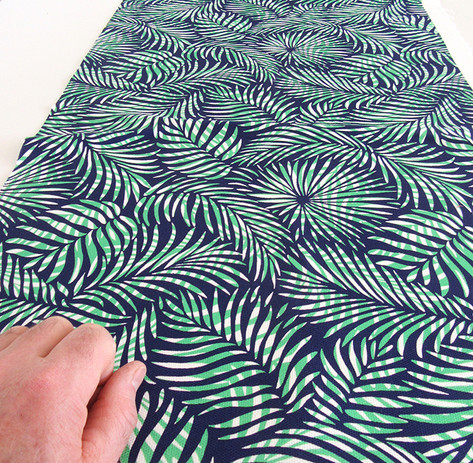 Palm Leaf fabric in blue, green and white