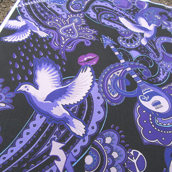 "printed cotton with a design representing the songs of Prince Rogers Nelson, for example a crying dove represents the Prince song ""When Doves Cry"""
