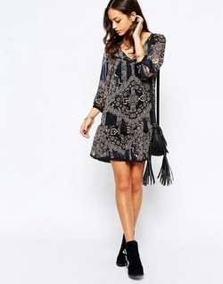 Only-blue-tassle-dress-with-scarf-print-by-Patrick-Moriarty
