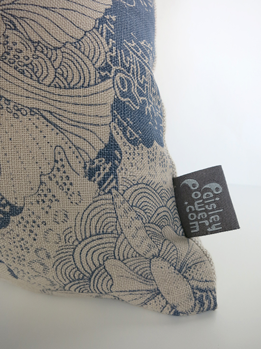 blue butterfly cushion - detail