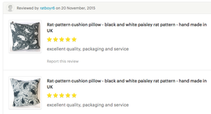 customer reviews of Paisley Power rat cushions