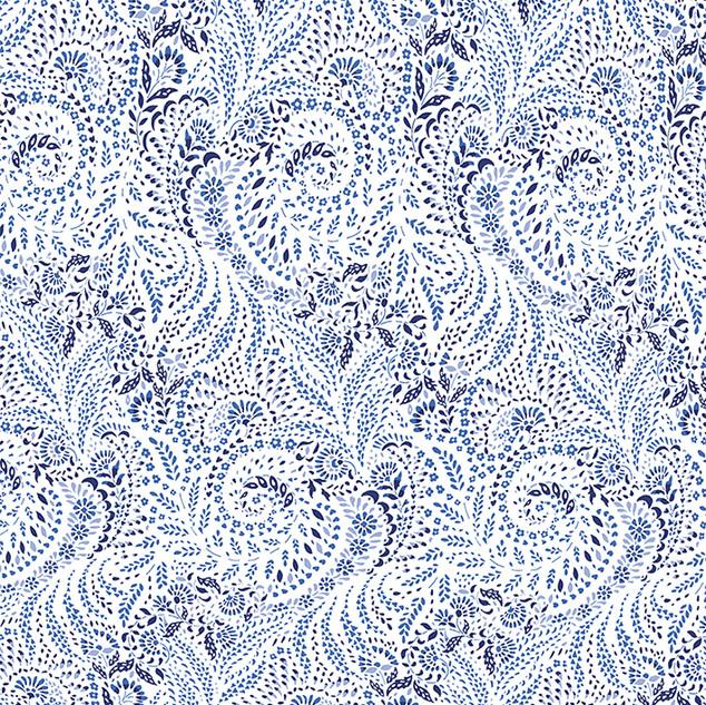 Paisley Garden Grows design (white blues version)
