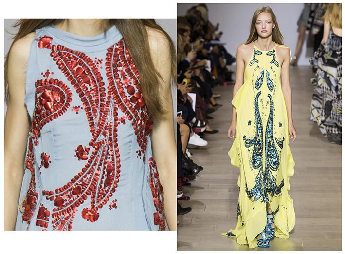 antonio berardi paisley embellished dress at London Fashion Week - September2015