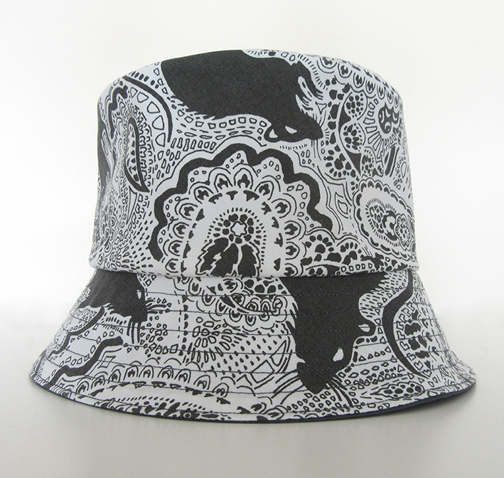 bucket-hat-with-black-and-white-print-fabric