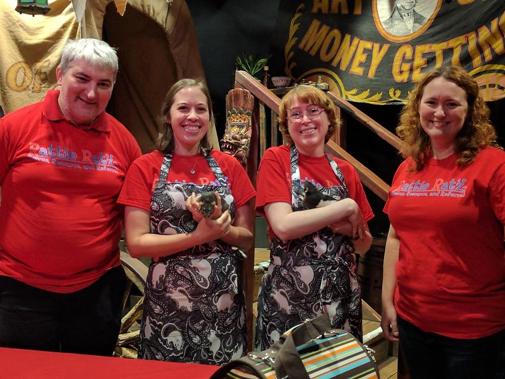 Rat Cafe volunteers wearing paisley power aprons