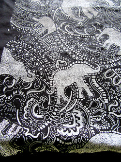 elephant paisley pattern by Paisley Power - black and white Indian style - fabric detail.jpg