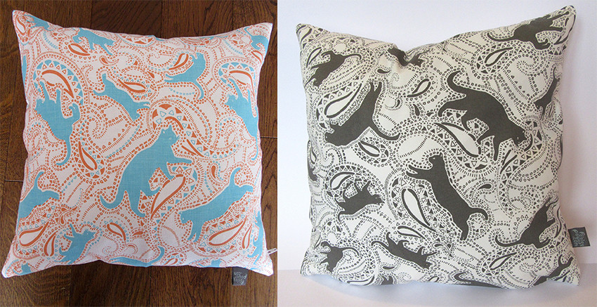cat-patterned cushions