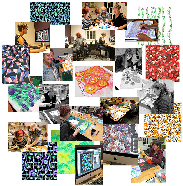 students, tutor and designs created at the Designing Printed Textiles course