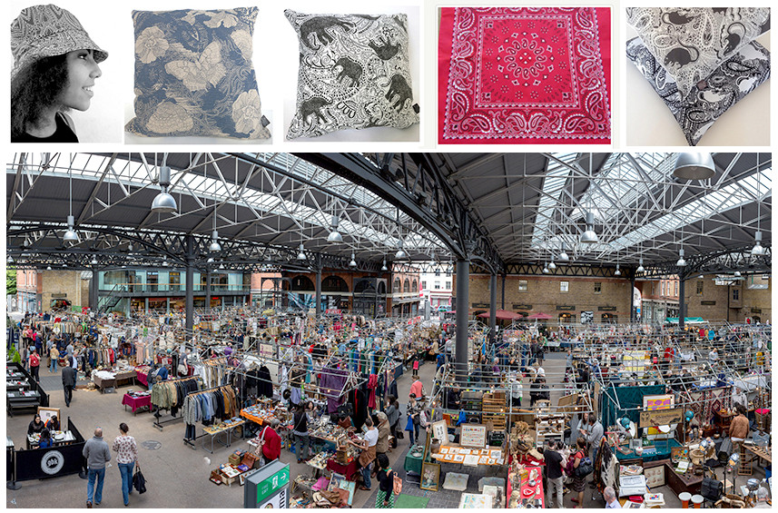 Old Spitalfields Market and Paisley Power fabric products