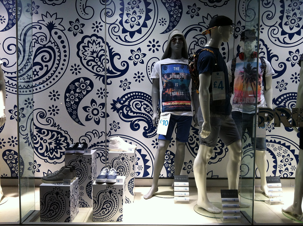 paisley pattern wallpaper in Primark window display