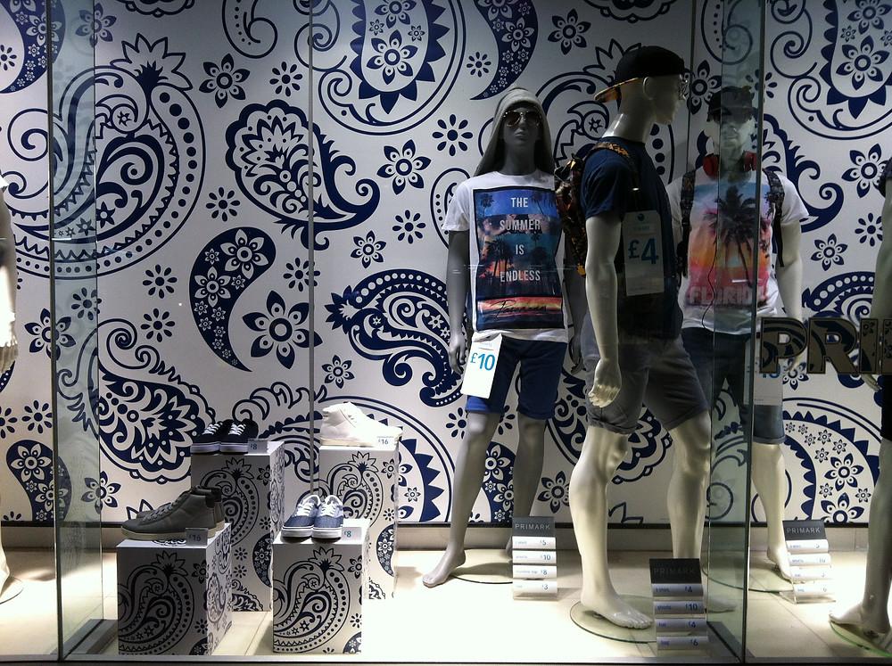 paisley pattern wallpaper in Primark window display
