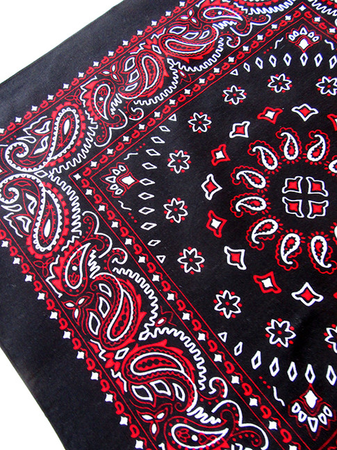 black, red and white bandana