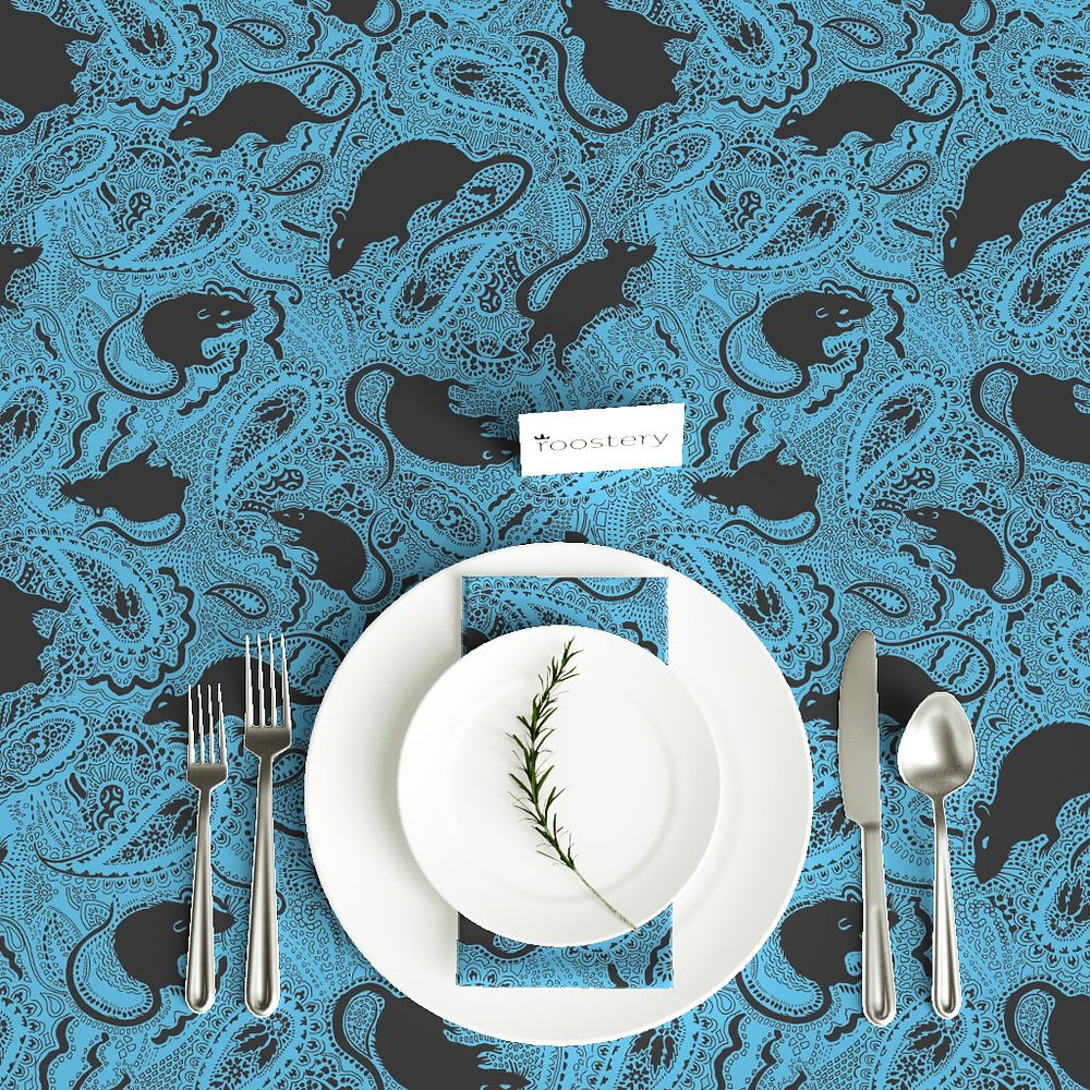 Paisley Rats fabric with turquoise background