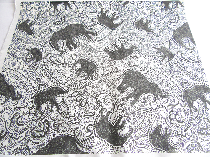 elephant paisley pattern printed cotton