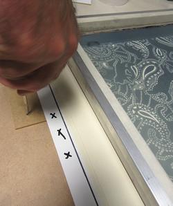 John Norman registering silkscreens