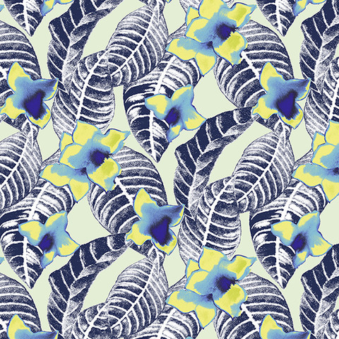 tropical floral and palm leaf print design