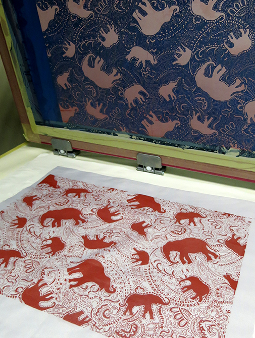 elephant pattern screen-print by Paisley Power