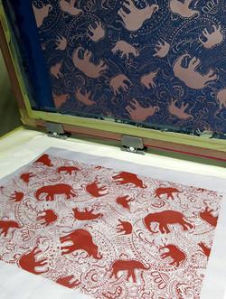 elephant pattern screen-print by Paisley Power