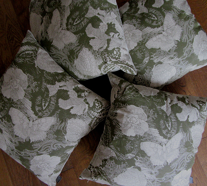 butterfly and flower cushions in dark olive colour