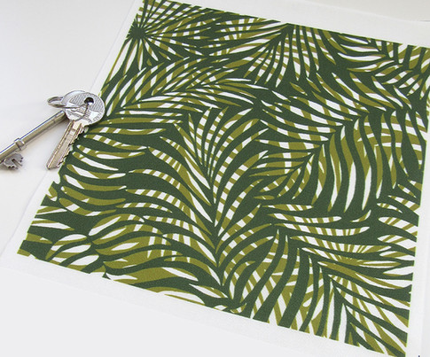 olive, green and white version of the Palm Leaf design