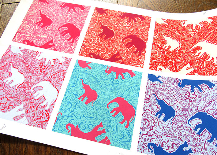 colour combinations for elephant print design