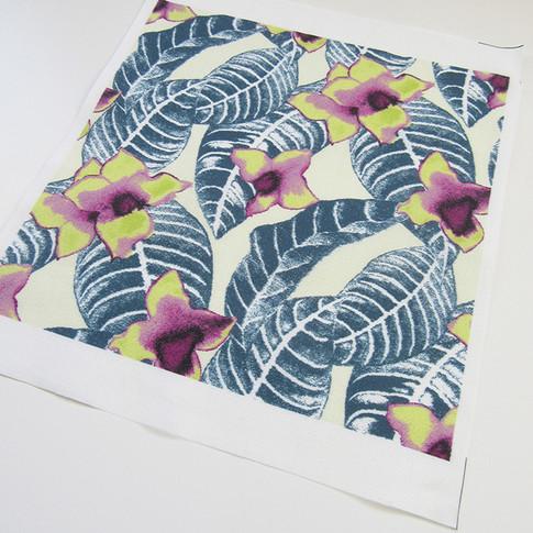 Palm leaf design printed on cotton