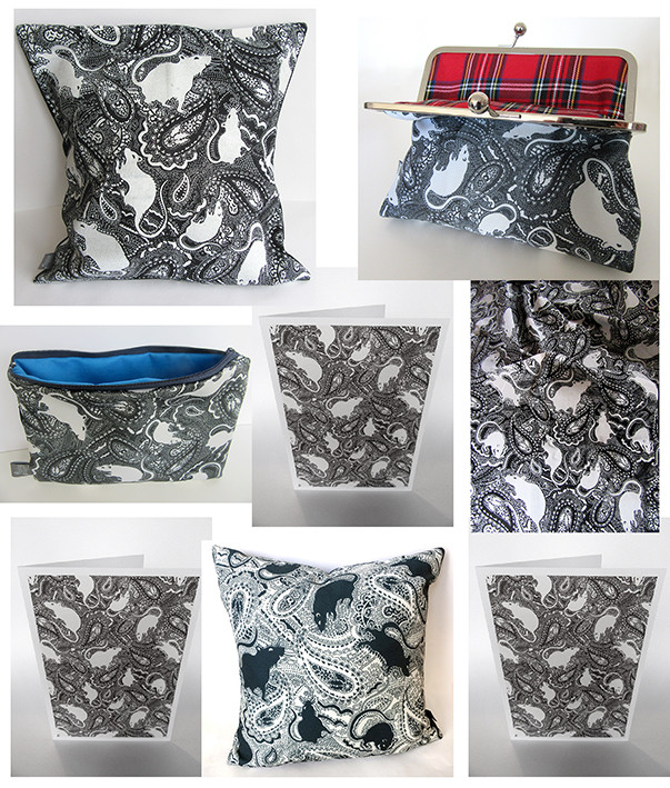 bags cushions notelets and fabric designed by Paisley Power
