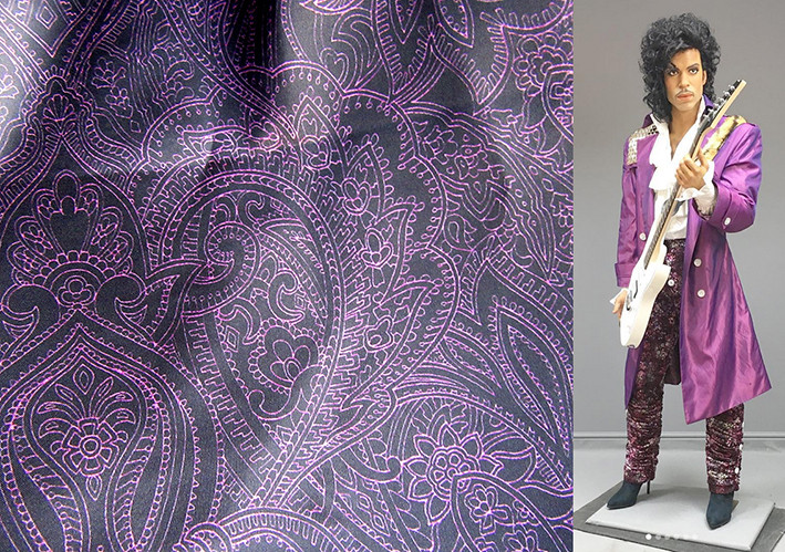 Purple Prince Paisley textile design by Patrick Moriarty with wax figure of Prince by Tony Webb