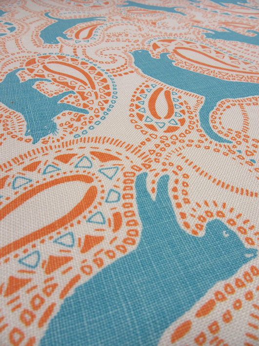 Close-up of the final printed fabric