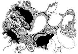 paisley pattern with rats by patrick moriarty - early hand-drawn draft