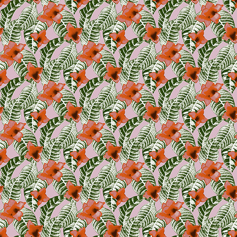 tropical textile design by Patrick Moriarty