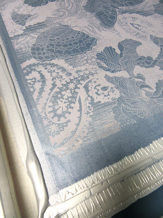 butterfly design printed in silver ink on silk screen