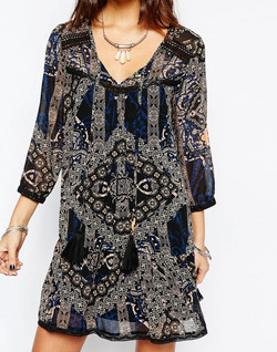 Only-blue-black-dress-with-scarf-print-by-Patrick-Moriarty