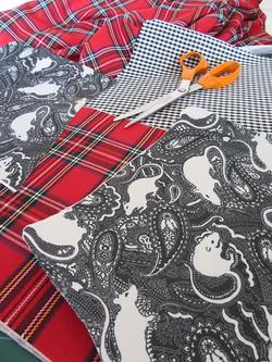 cutting fabric to make bag