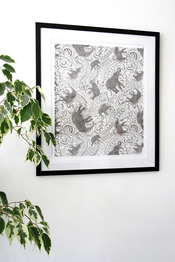 paisley elephant screen-print bought by a collector in London