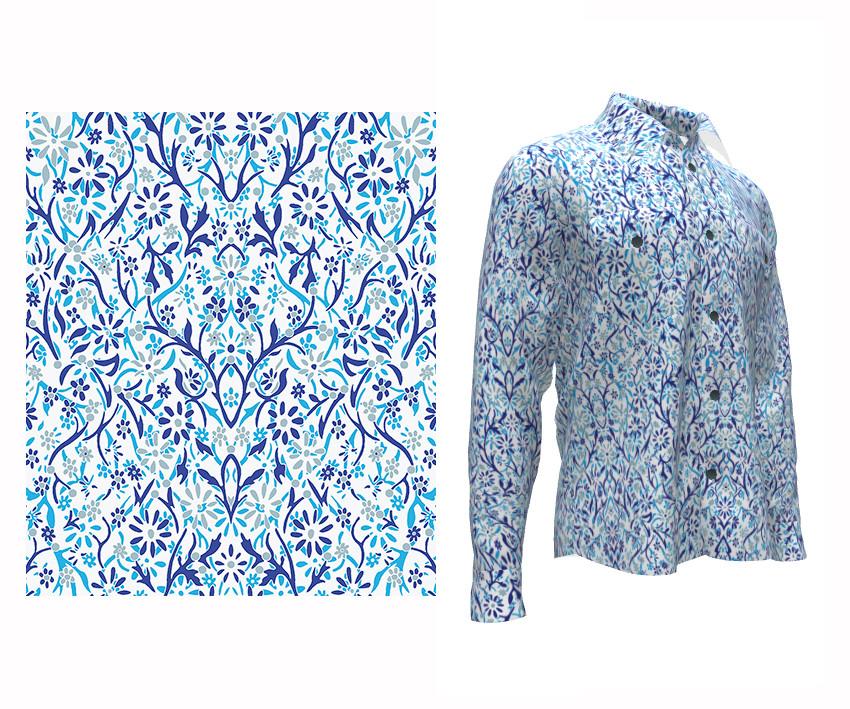 """""""Garden of Symmetry"""" textile design by Patrick Moriarty"""