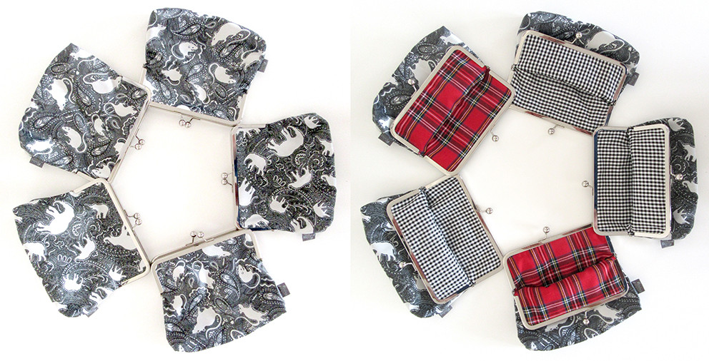 rat and elephant patterned clutch bags