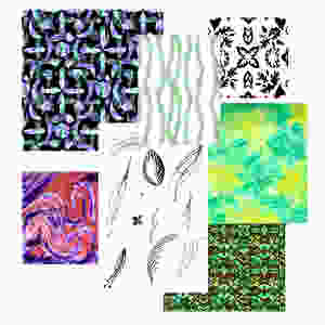 Designs and artwork by students at the Designing Printed Textiles classes