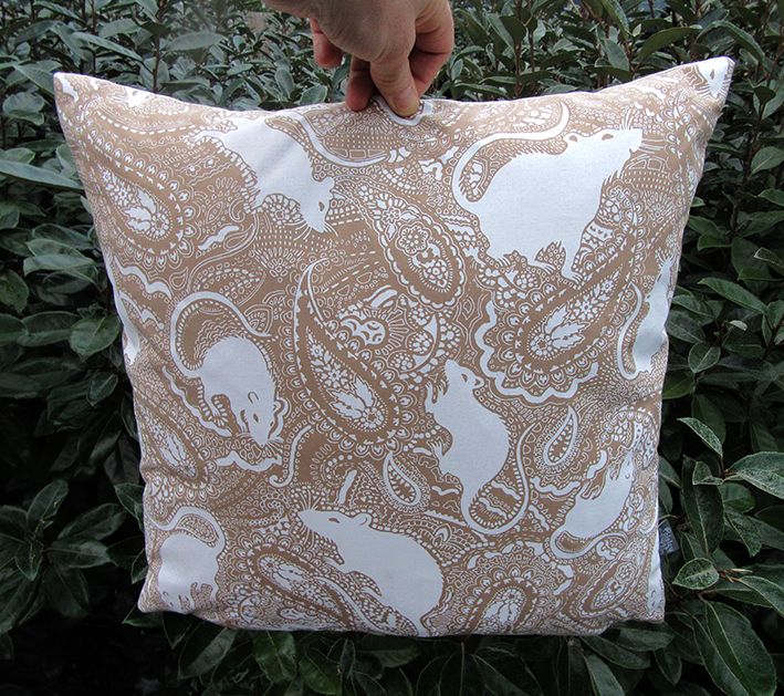 Brown rat cushion by Paisley Power