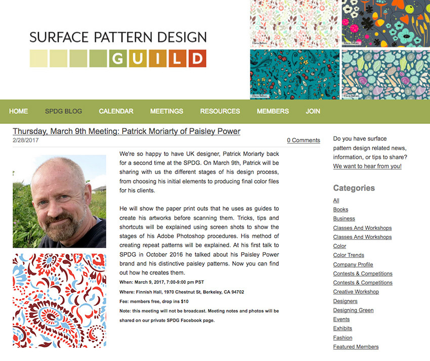 UK textile designer Patrick Moriarty gives tutorial to the Surface Pattern Design Guild in California