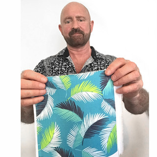Designer Patrick Moriarty with fabric