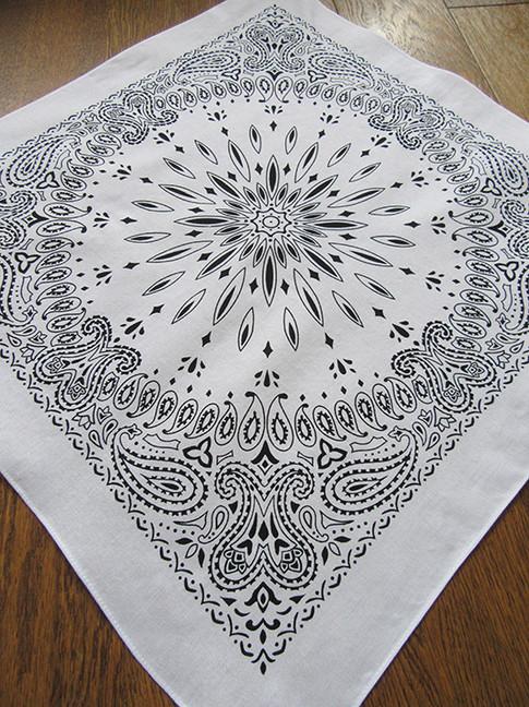 white bandana designed by Patrick Moriarty